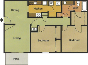 Two Bedroom / One Bath - 1,010 Sq. Ft.*