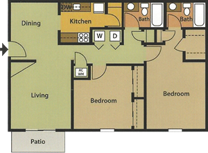 Two Bedroom / Two Bath 1,010 Sq. Ft.*